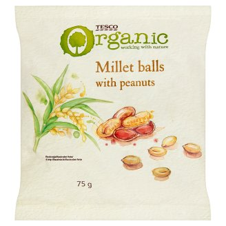 Tesco Organic Gluten-Free, Extruded Millet Balls with Peanuts 75 g