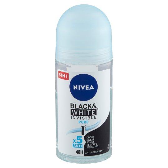 NIVEA Black & White Invisible Pure Anti-Perspirant Roll-On Deodorant 50 ml