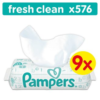 Pampers Fresh Clean Baby Wipes 9x64 Count wipes