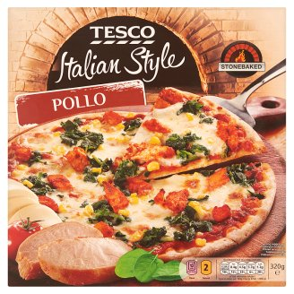 Tesco Italian Style Pollo Quick-Frozen Pizza with Chicken Breast, Spinach and  Sweetcorn 320 g