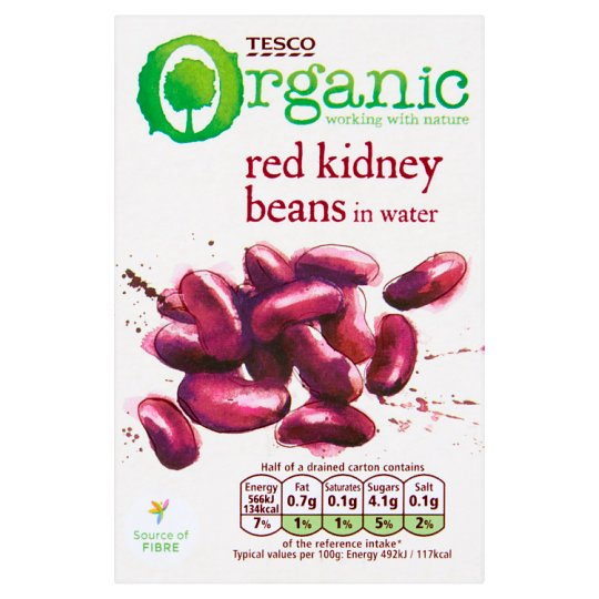 Tesco Organic Red Kidney Beans in Water 380 g
