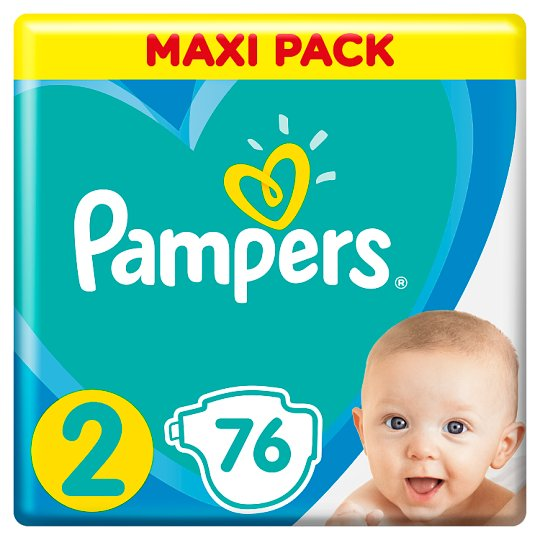 Pampers Diapers Size 2, 76 Nappies, 4-8kg