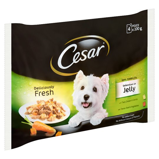 Cesar Complete Pet Food Selection in Aspic for Adult Dogs 4 x 100 g