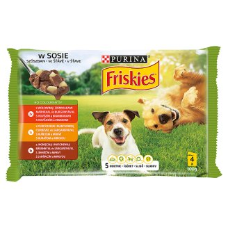 Friskies Vitafit Complete Pet Food for Adult Dogs in Sauce with 3 Flavours 4 x 100 g