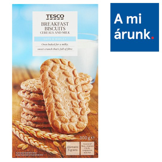 Tesco Oats & Barley Breakfast Biscuits with Cereals and Milk 6 x 50 g