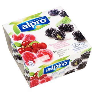 Alpro Black Currant-Blackberry and Raspberry Soya Product with Calcium and Vitamins 4 x 125 g