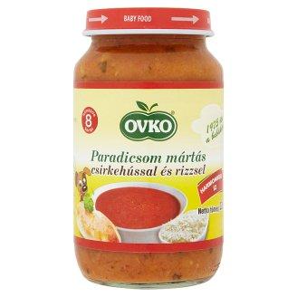 Ovko gluténmentes paradicsom mártás csirkehússal és rizzsel bébiétel 8 hónapos kortól 220 g