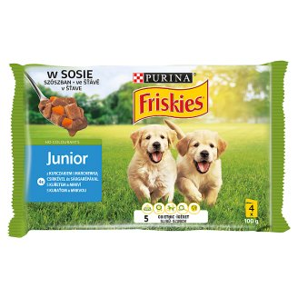 Friskies Vitafit Junior Complete Food for Puppies with Chicken and Carrot in Sauce 4 x 100 g