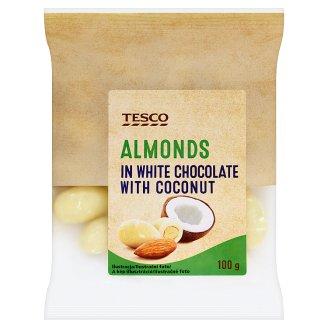 Tesco pörkölt mandula fehér csokoládés-kókuszos bevonattal 100 g