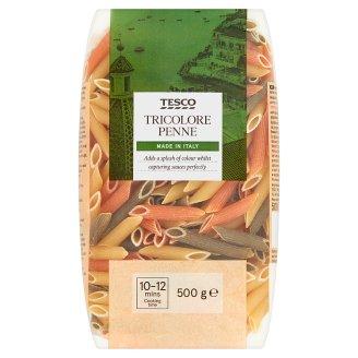 Tesco Tricolore Penne durum száraztészta paradicsomporral és spenótporral 500 g