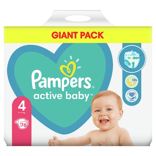 Pampers Active Baby Size 4, 76 Nappies, 9-14kg