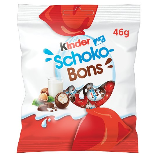 Kinder Schoko-Bons Milk Chocolate Praline with Milk Cream Filling and Hazelnut Pieces 46 g