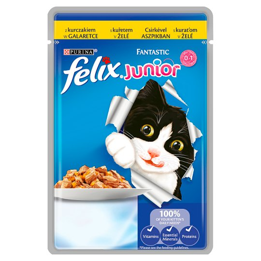 Felix Fantastic Junior Complete Pet Food for Junior Cats with Chicken in Aspic 100 g