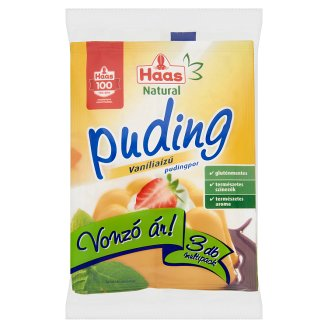 Haas Natural Gluten-Free Vanilla Flavoured Pudding Powder 3 x 40 g