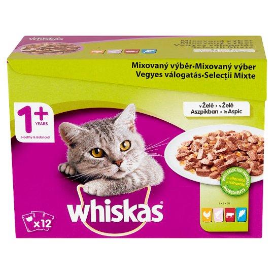 Whiskas 1+ Vegyes Válogatás teljes értékű nedves eledel felnőtt macskáknak aszpikban 12 x 100 g