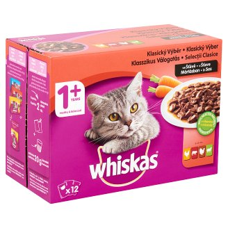 Whiskas 1+ Classic-Vegetable Selection Complete Pet Food for Adult Cats 12 x 100 g
