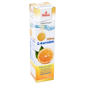 Haas Premium L-karnitin 500 mg Orange Sugar-Free Supplement Effervescent Tablets 20 pcs 80 g