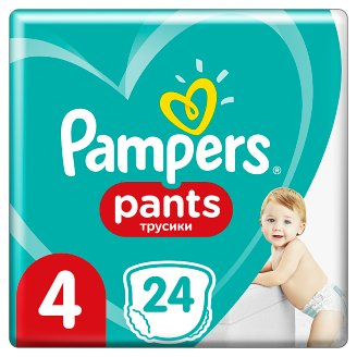 Pampers Pants Size 4, 24 Nappies, 8-14kg, Absorbing Channels