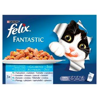 Felix Fantastic Halas Falatok Complete Pet Food for Adult Cats 12 x 100 g
