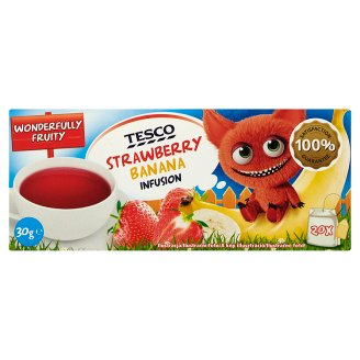 Tesco Strawberry Banana Infusion Strawberry-Banana Flavoured Filtered Fruit Tea 20 Tea Bags 30 g