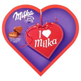 Milka I ♥ Milka alpesi tejcsokoládé praliné mandulás töltelékkel és ropogós mogyoródarabokkal 38,5 g