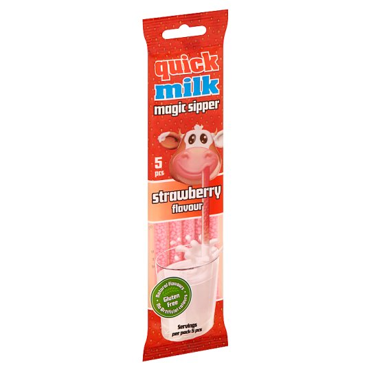 Quick Milk Magic Sipper Milk Flavouring Sipper with Strawberry Sugar Dragee 5 pcs 30 g