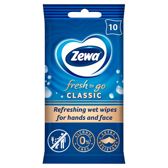 Zewa Fresh To Go Classic Refreshing Wet Wipes for Hands & Face 10 pcs