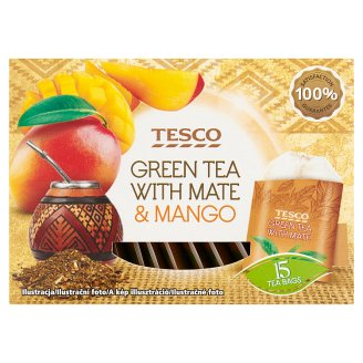 Tesco Green Tea with Mate & Mango 15 Tea Bags 22,5 g