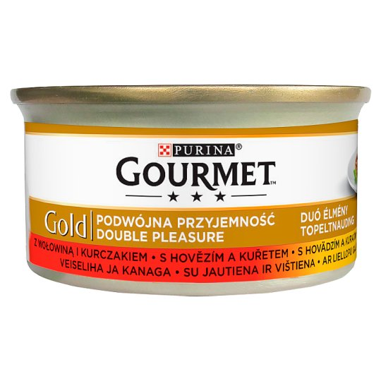 Gourmet Gold Duó Élmény Complete Pet Food for Adult Cats with Beef and Chicken 85 g