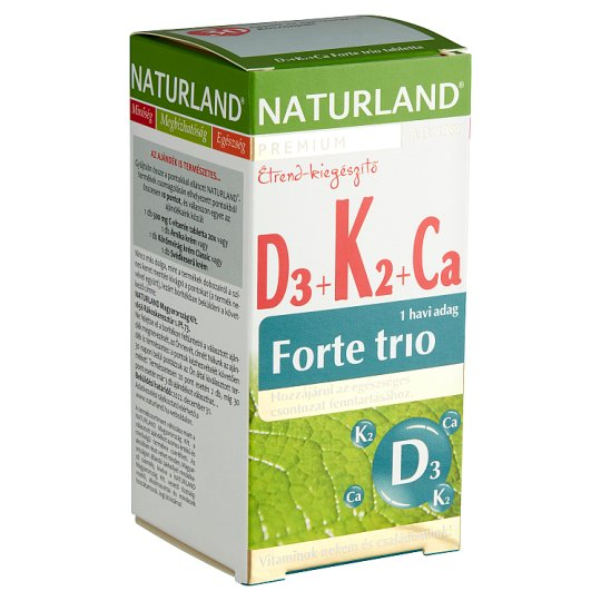 Naturland Premium Forte Trio D₃+K₂+Ca Food Supplement Tablets 30 pcs 39,4 g