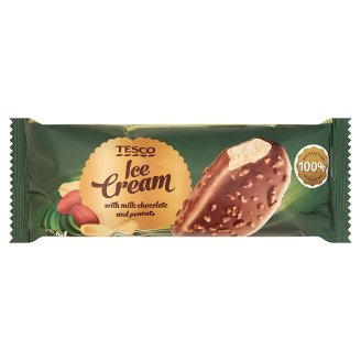 Tesco Vanilla Ice Cream Coated in Milk Chocolate with Hazelnut Pieces 120 ml