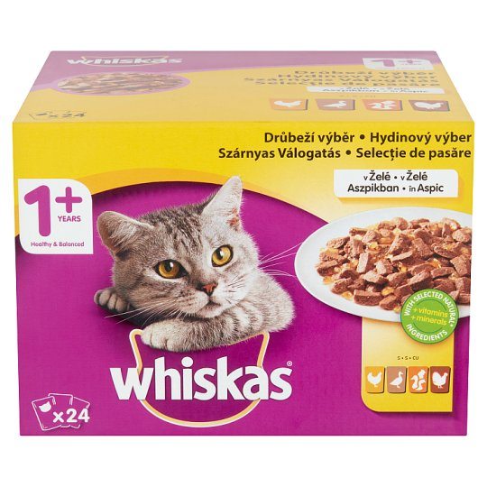 Whiskas 1+ Poultry Selection Complete Pet Food for Adult Cats 24 x 100 g