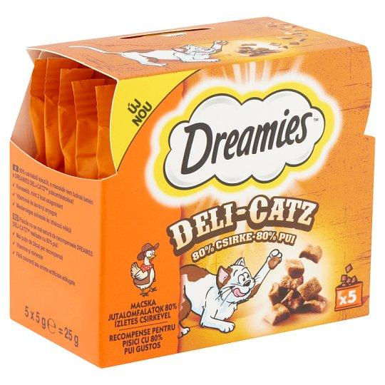 Dreamies Deli-Catz kiegészítő állateledel felnőtt macskák számára csirkével 5 x 5 g