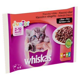 Whiskas Junior Meat Mix Complete Pet Food for Junior Cats in Sauce 4 x 100 g