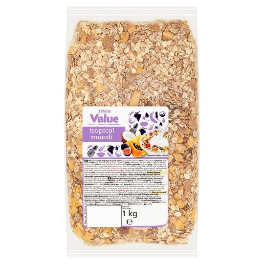 Tesco Value gabonapelyhek és aszalt trópusi gyümölcsök keveréke 1 kg
