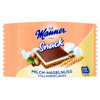Manner Snack Hazelnut and Milk Cream Filled Wafer with Wheat Flakes 25 g