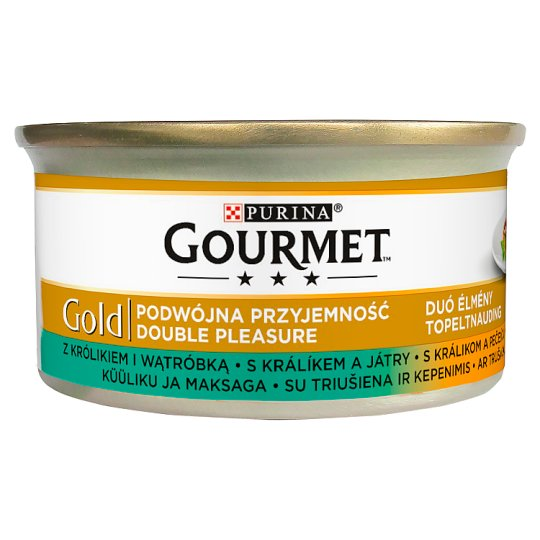 Gourmet Gold Duó Élmény Complete Pet Food for Adult Cats with Rabbit and Liver 85 g