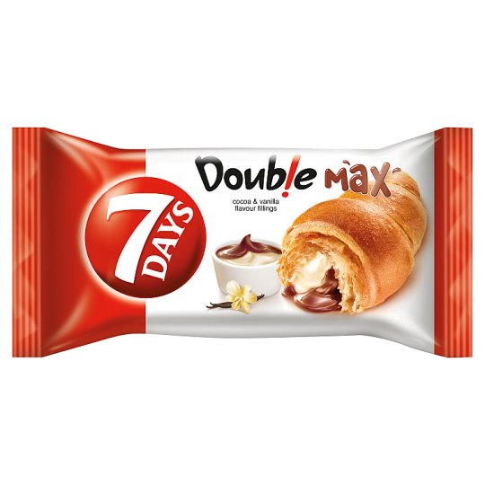 7DAYS Doub!e Max Croissant with Cocoa and Vanilla Flavour Fillings 80 g