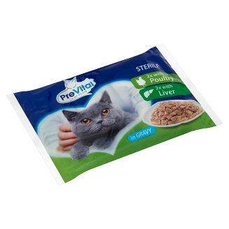 PreVital Complete Food for Adult, Sterilised Cats with Poultry and Liver 4 x 100 g
