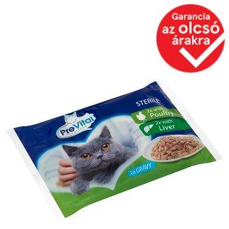 PreVital teljes értékű eledel felnőtt ivartalanított macskák számára baromfival és májjal 4 x 100 g