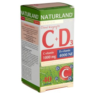 Naturland C+D₃ 1000 mg Vitamin C + 4000 NE Vitamin D Food Supplement Tablets 40 pcs 57,7 g