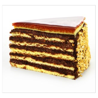 Sponge Cake Slice Layered with Chocolate Cream and Topped with Caramel