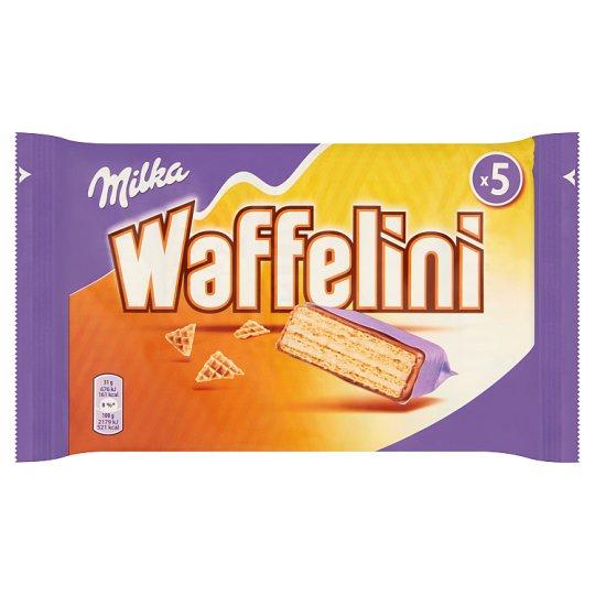 Milka Waffelini alpesi tejcsokoládéval mártott tejes ízű krémmel töltött ostya 5 db 155 g