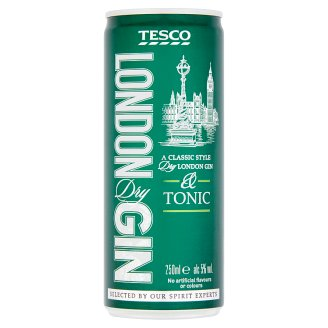 Tesco Blend of Carbonated Tonic Water with Sugar and Sweetener and London Dry Gin 5% 250 ml