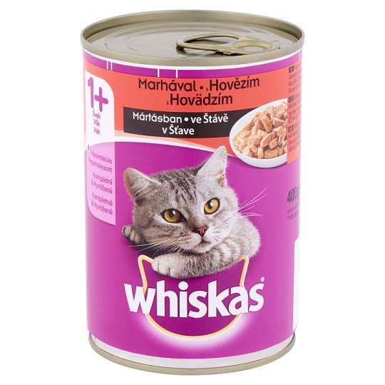 Whiskas 1+ Complete Pet Food for Adult Cats with Beef in Sauce 400 g