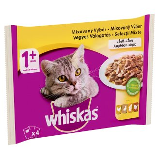 Whiskas 1+ Poultry Selection Complete Pet Food for Adult Cats in Jelly 4 x 100 g