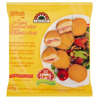 Gallicoop gyorsfagyasztott sajttal, sonkával töltött panírozott pulykamell-érme 1000 g