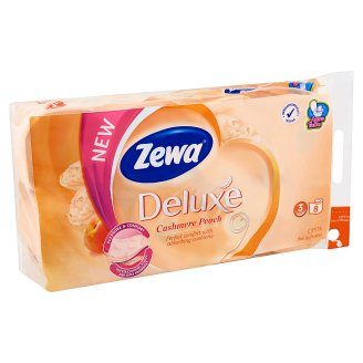 Zewa Deluxe Cashmere Peach 3 Ply Toilet Paper 8 Rolls