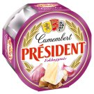 Président Camembert Fat Soft Cheese with Garlic Mellowed with White Mold 120 g