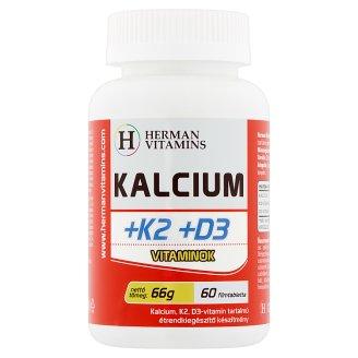 Herman Vitamins Kalcium +K2 +D3 vitaminok étrend-kiegészítő készítmény 60 db 66 g
